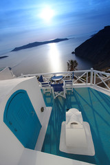 Santorini with Traditional architecture in Fira, Greece