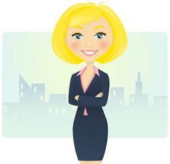 Cute blond businesswoman with arms crossed
