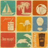 set of vintage travel labels poster