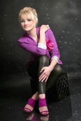 portrait of young Slavonic beautiful stylish girl in pink