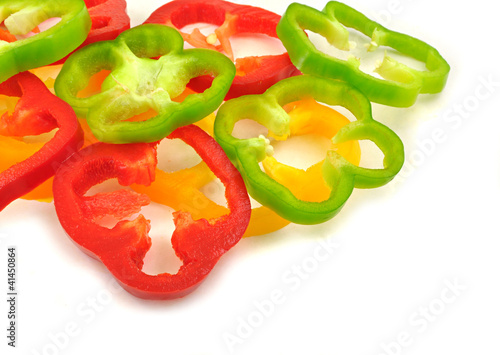 sliced pieces of colorful capsicums