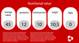 Vector nutritional value. Eps10 illustration
