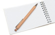 wooden ball pen and a notebook on a white background