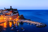 Vernazza Castle and Harbor at Early Morning in Cinque Terre, Ita