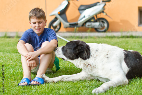 the boy with his dog