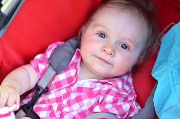 Bébé dans la poussette assis sur la nature