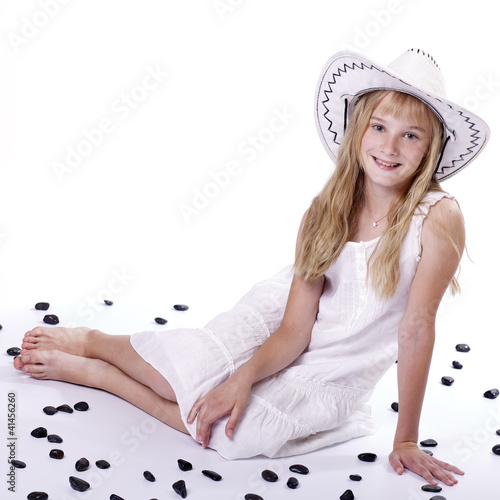 Smiling girl in white dressed I