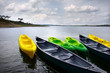Green and yellow kayaks