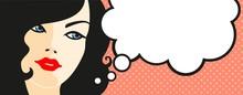 Bannière avec le visage féminin et bulle de pensée