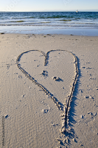 Love heart with yacht. Binalong Bay, Tasmania, Australia