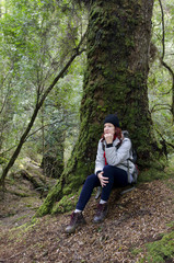 Female hiker in Tarkine wilderness, Tasmania, Australia