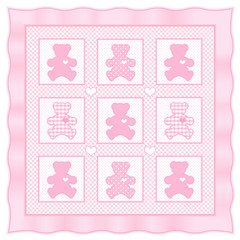 Teddy Bears Baby Quilt, big hearts, pastel polka dots, gingham
