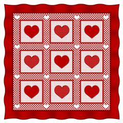 Love of Hearts Quilt, old fashioned design, Valentine red check