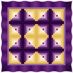 Quilt, Log Cabin Pattern, Barn Raising design, patchwork sewing