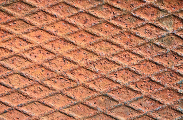 Rusty metal grid background