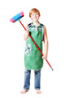 boy with broom