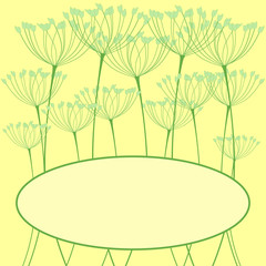 Greeting card with fennel inflorescence
