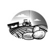 Potato against farm tractor in a field, engraving style