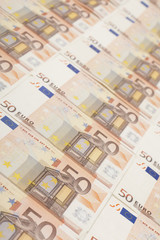 50 euro banknote background with shallow dof