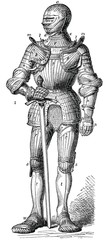 Knight in armor since Maximilian I. Front view.