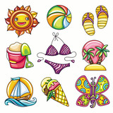 Set of 9 summer and beach icons