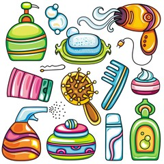 Icon set hygiene accessories