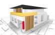 Modernes Wohnhaus mit Grundriss - 3D