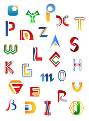 Set of alphabet symbols and letters