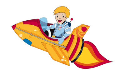 Cartoon Boy Flying Rocket, outer space set (illustration)
