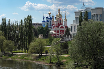 Tambov, embankment of Tsna River with churches, Russia