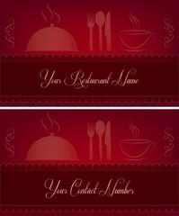 Kırmızı restoran kartları