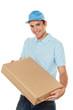 Bote von Botendienst liefert Post Paket