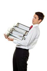 Manager im Stress mit Akten Stapel