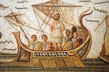 Mosaic scene from Homer's Odyssey in Bardo Museum, Tunisia