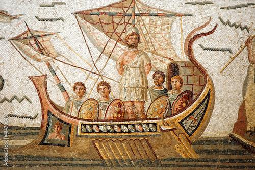 Mosaic scene from Homer's Odyssey in Bardo Museum, Tunisia - 41470645