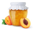 Peach jam and fresh peaches isolated on white