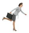 Running modern business woman with briefcase