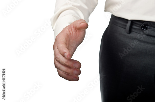 Businessman stretched hand