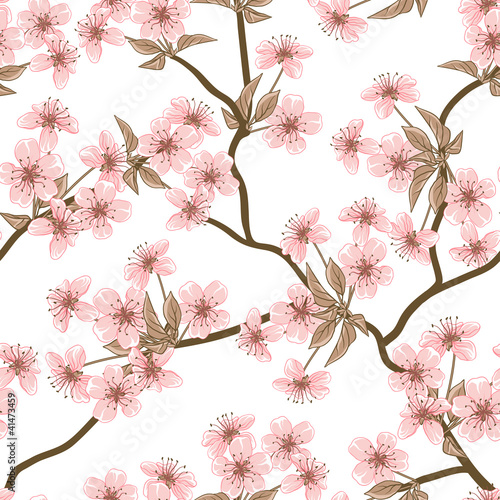 Wall mural Cherry blossom vector background. (Seamless flowers pattern)