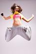 woman dancer in a jump dance move