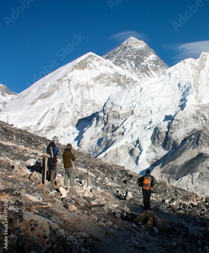 view of Everest and Nuptse from Kala Patthar with tourists