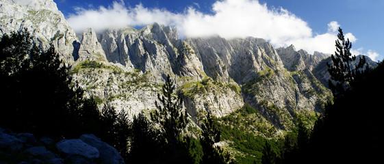 Albania mountains. Scenic panoramic view from trekking path.
