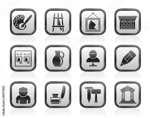 Fine art objects icons - vector icon set