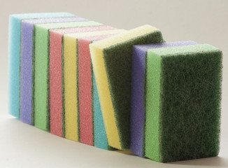 cleaning products, sponges,