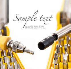 Precision Screwdriver Bit Set, on white background, close-up
