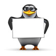 3d Penguin in glasses holds a blank banner
