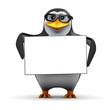 3d Penguin in glasses holds a blank banner