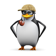 3d Penguin in glasses wears a Sherlock hat