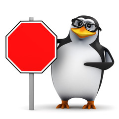 3d Penguin in glasses with blank road sign