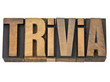 trivia word in wood type
